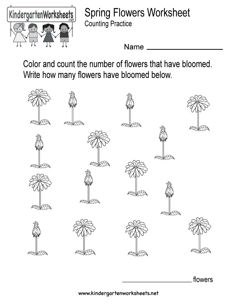 Free Printable Spring Flowers Worksheet For Kindergarten