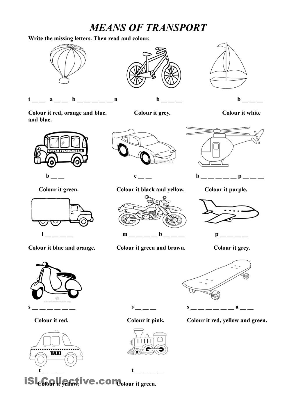 Free Printable Worksheets On Means Of Transport
