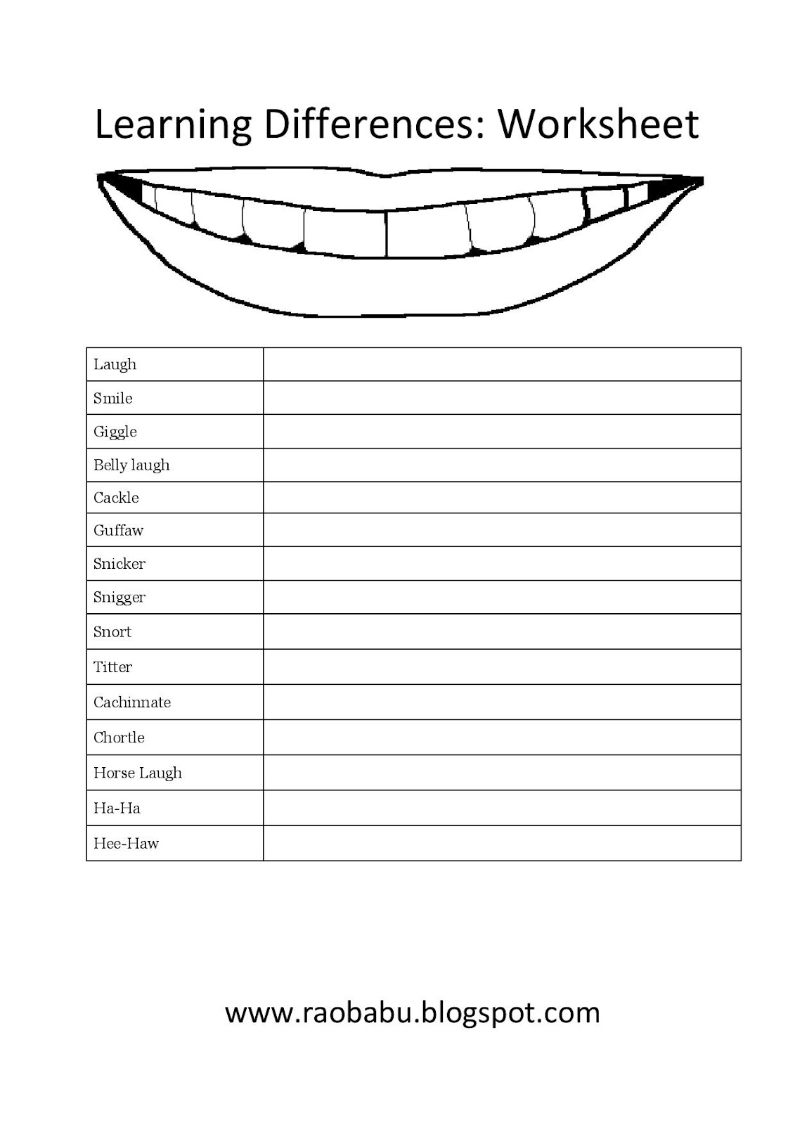 Free Worksheets For Learning English