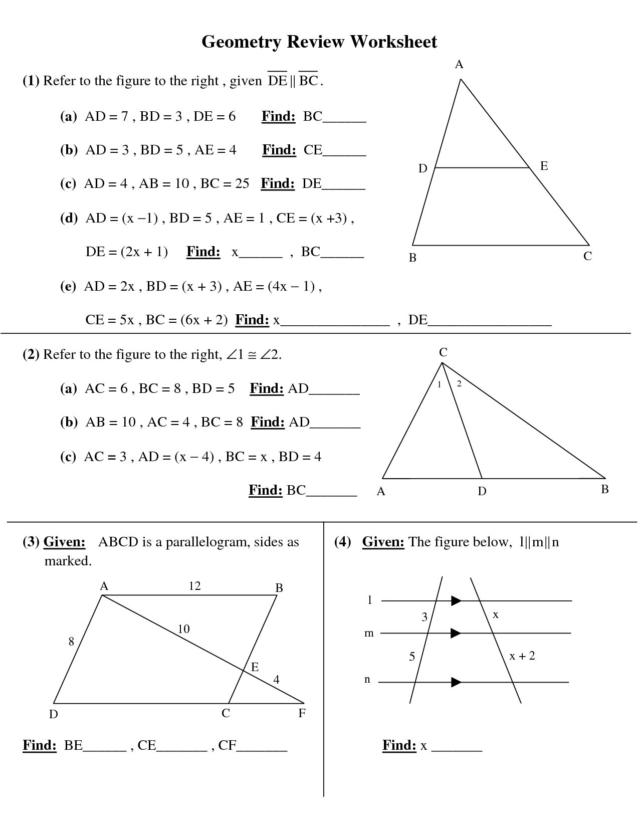 Fun Geometry Worksheets High School The Best And Most  Fun  Best