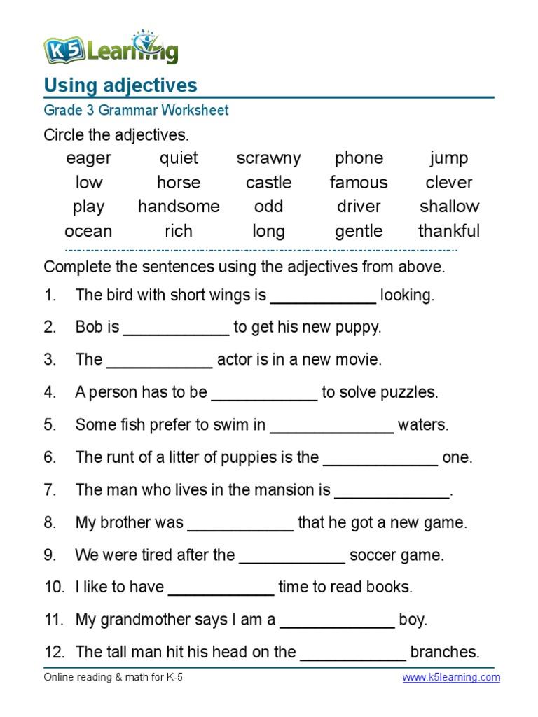 Grammar Worksheet Grade 3 Worksheets For All