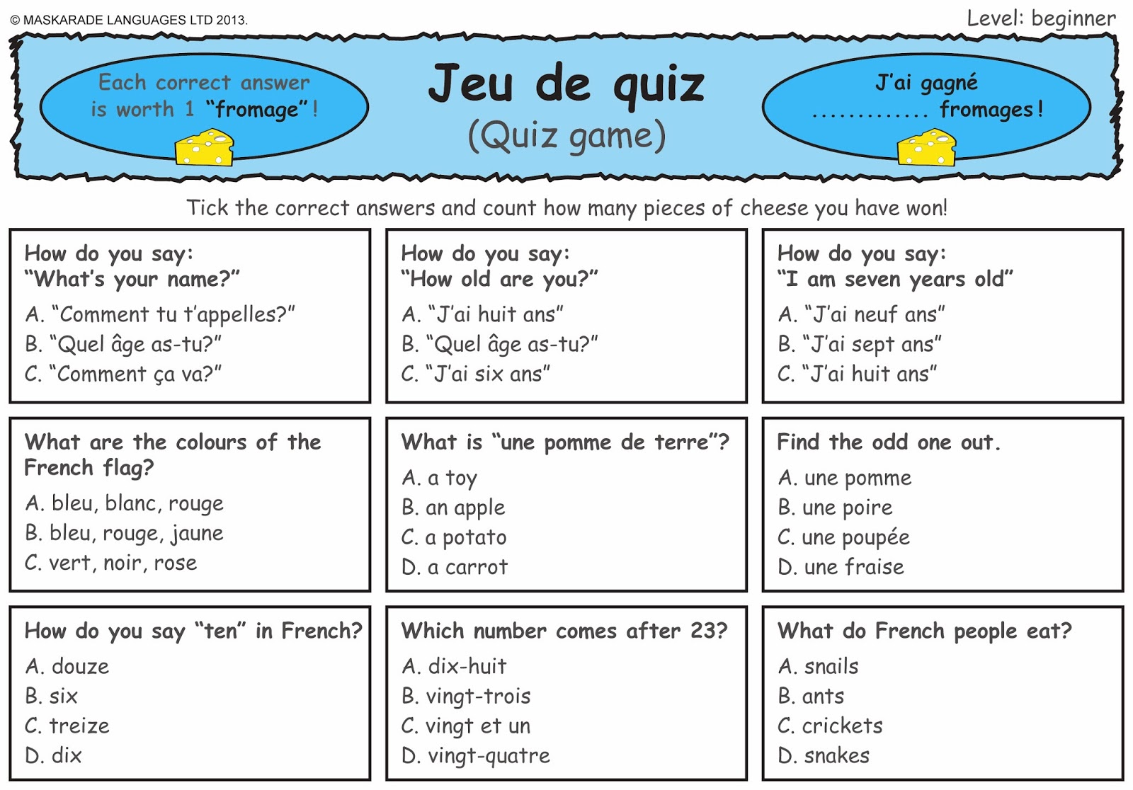 Greetings Worksheets In French