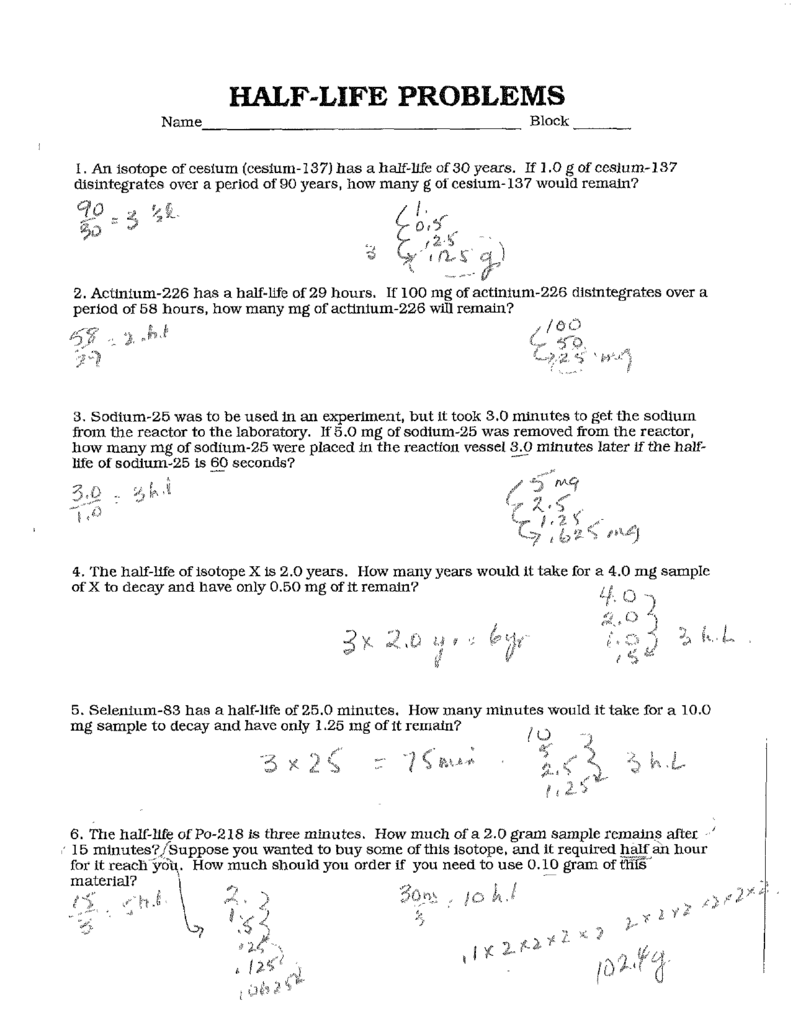 Chemistry Half Life Worksheets Answers
