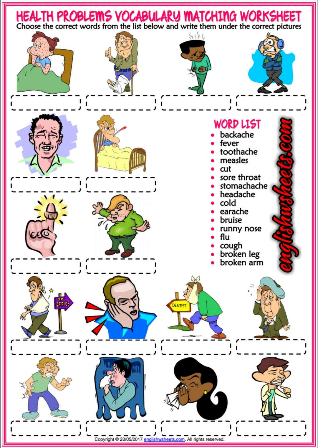 Health Problems, Illnesses, Ailments Esl Printable Vocabulary