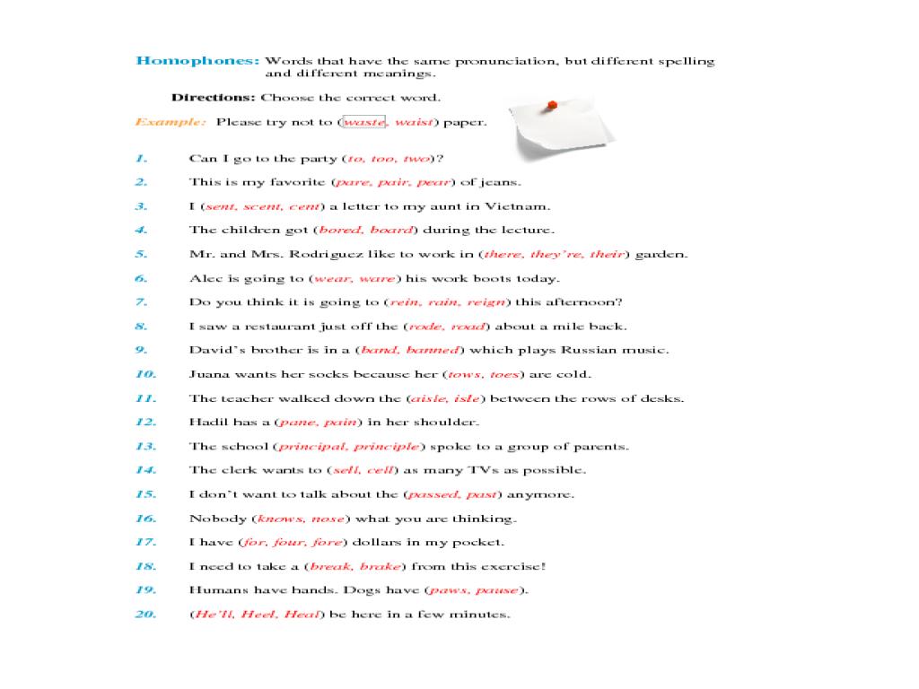 Homographs Worksheets 5th Grade Worksheets For All