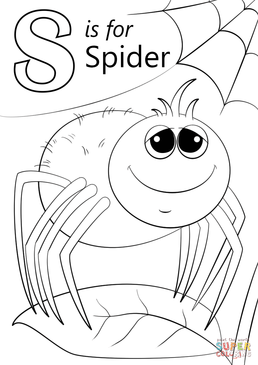 Instructive Letter S Coloring Sheet Is For Spider Page Free