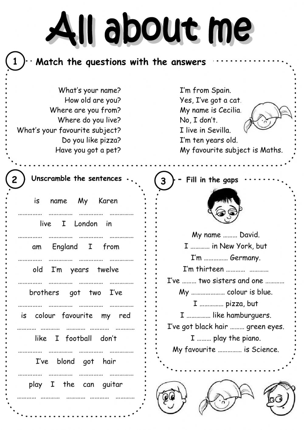Introducing Yourself Interactive Worksheets