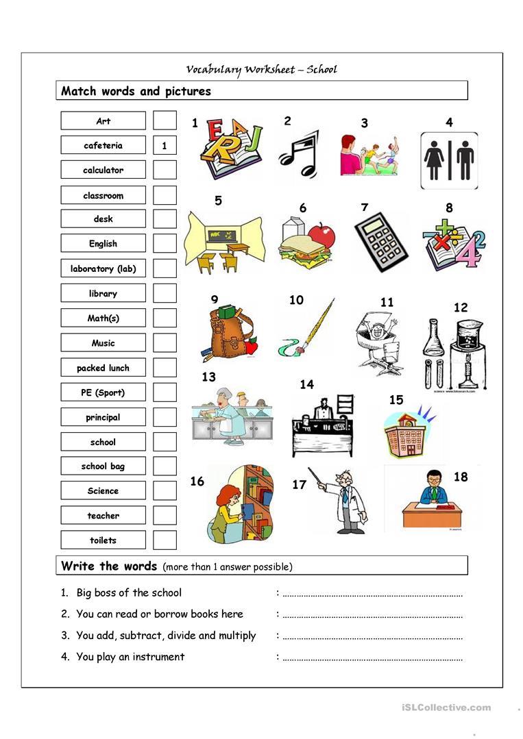 Kids  Activities Worksheet  Esl School Vocabulary Worksheets