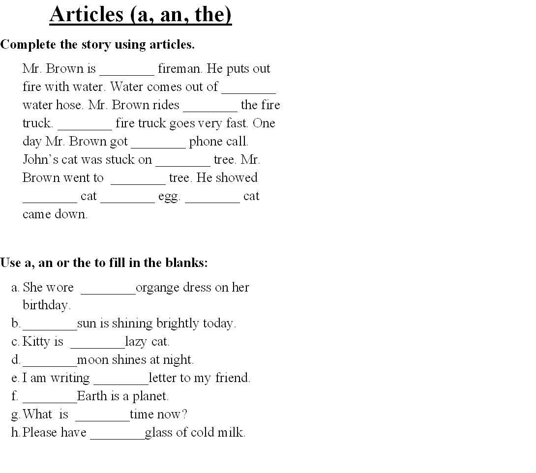 Kids  English Worksheets For Grade 2  Articles Articles ~ Toppillow