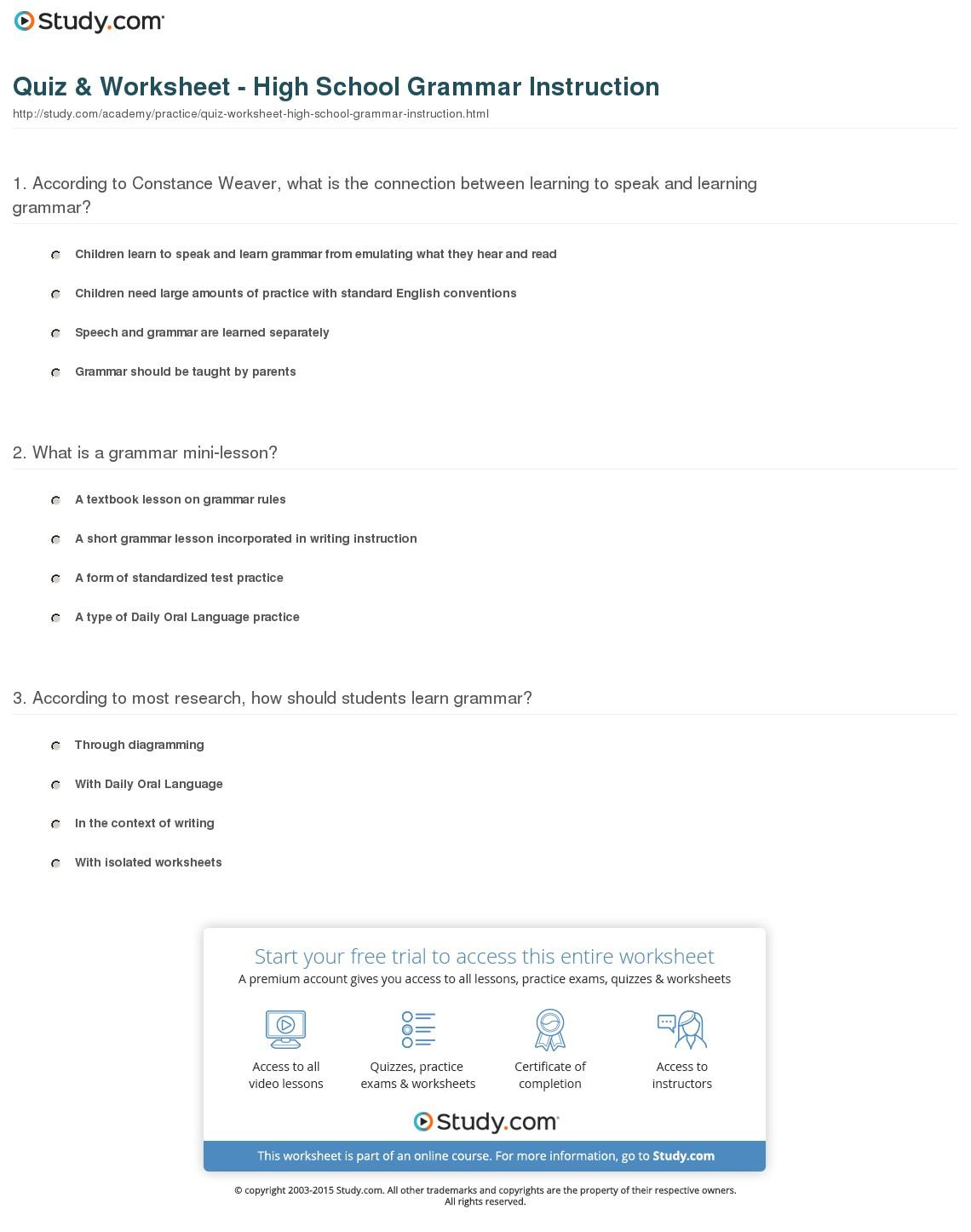 Kids  Free Printable Grammar Worksheets For High School  Grammar