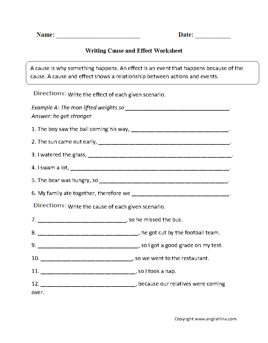 Kids  Grade 1 Writing Worksheets  Reading Worksheets Cause And