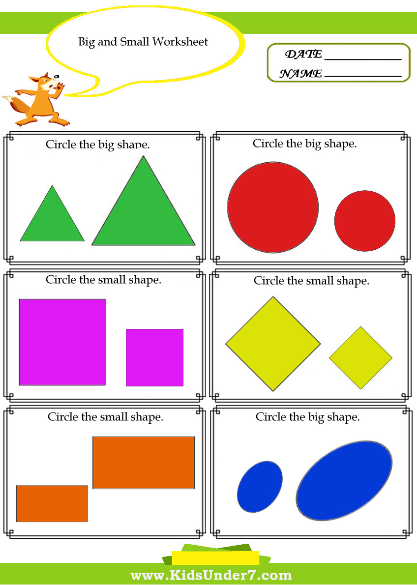 Kids Under 7  Big And Small Worksheet