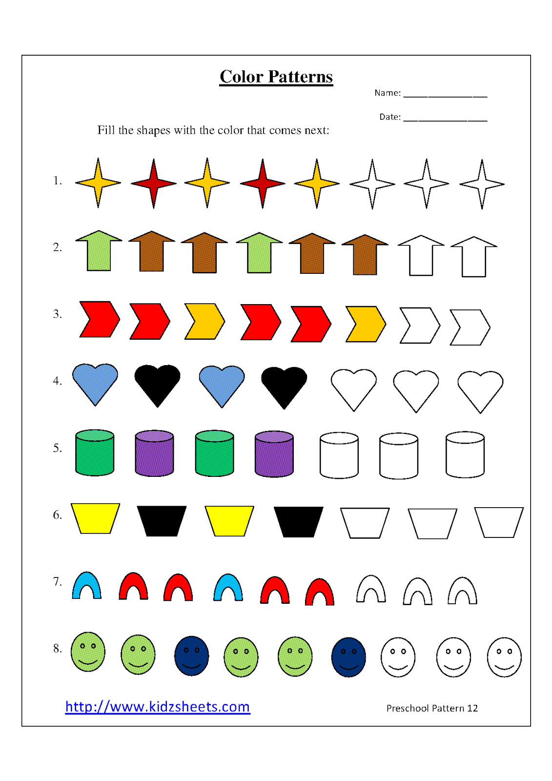 Kidz Worksheets  Preschool Color Patterns Worksheet12