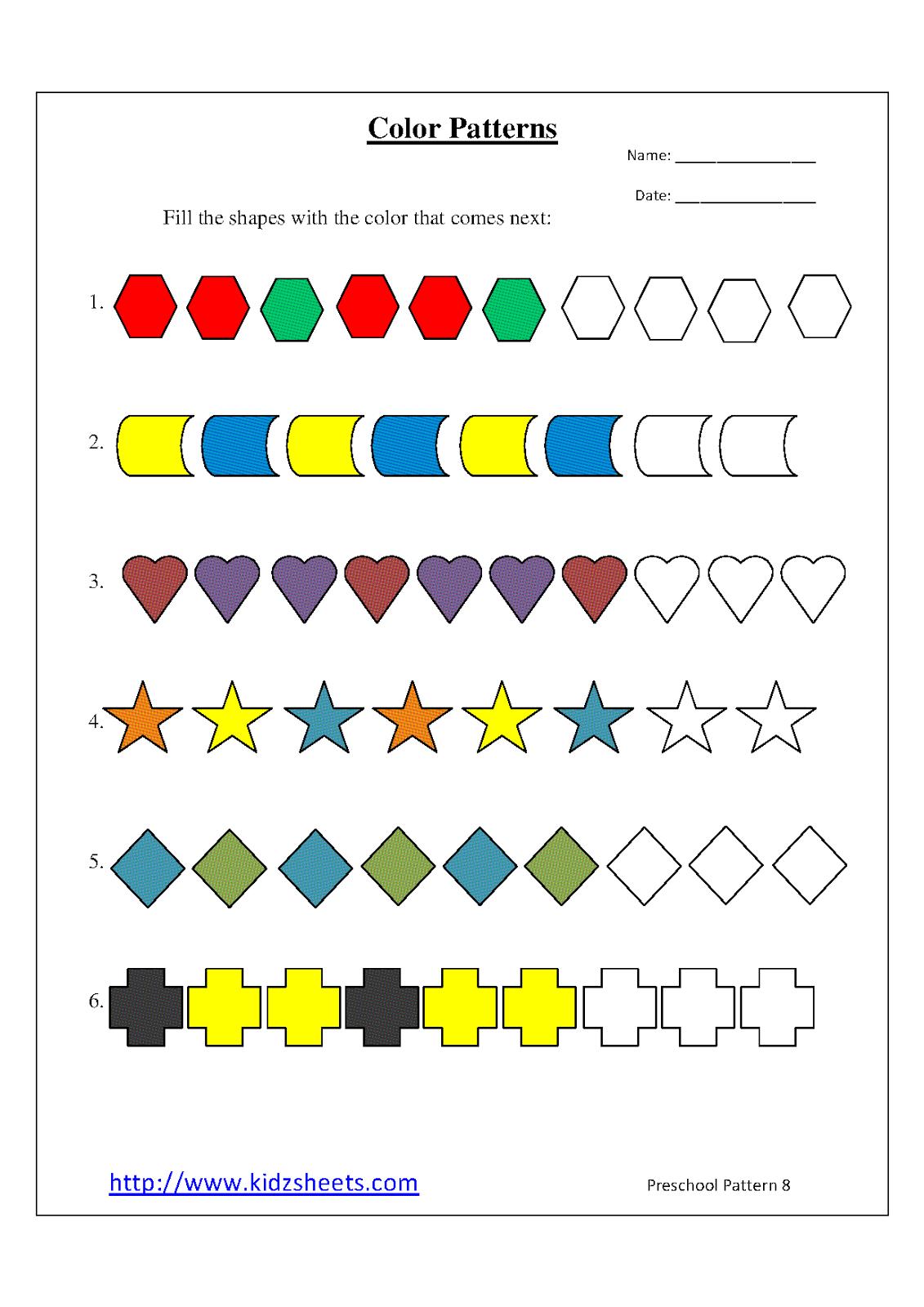 Kidz Worksheets  Preschool Color Patterns Worksheet8