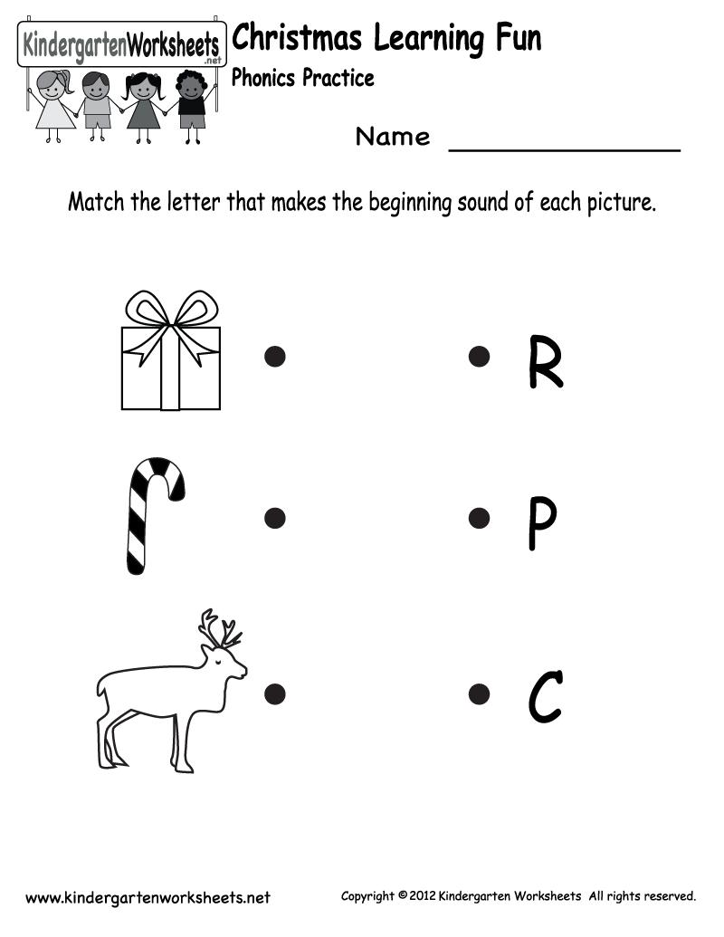 Kindergarten Christmas Phonics Worksheet Printable