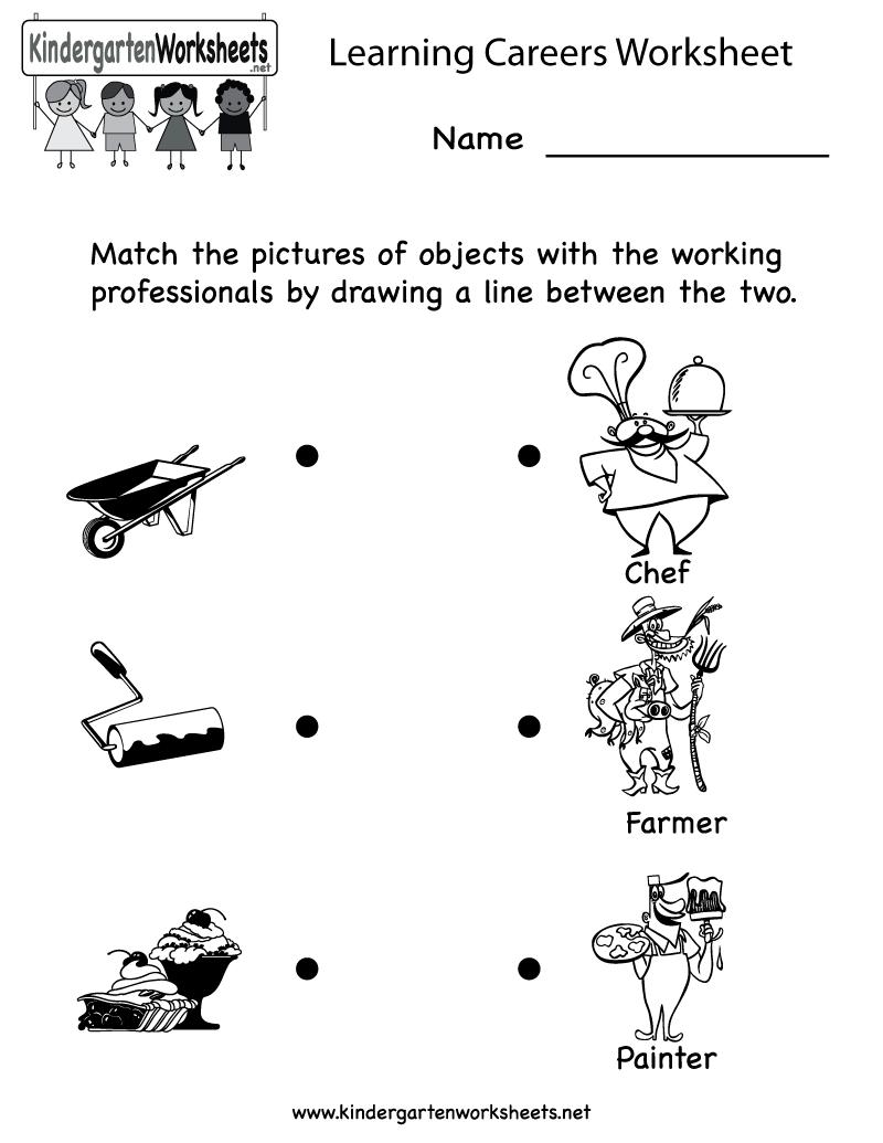 Kindergarten Learning Careers Worksheet Printable  Can Also Use