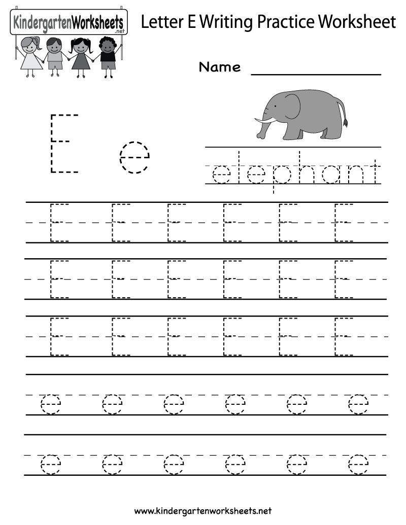Kindergarten Letter E Writing Practice Worksheet Printable