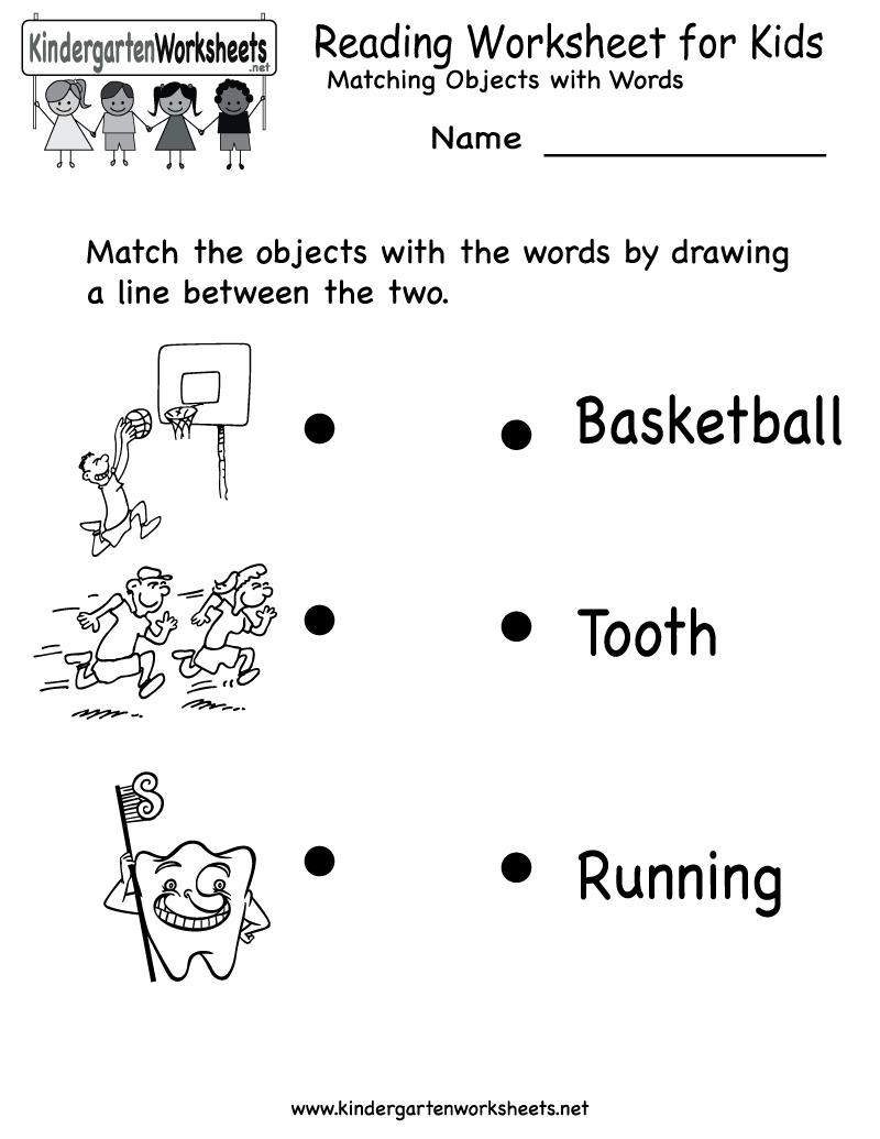 Kindergarten Reading Worksheet For Kids Printable
