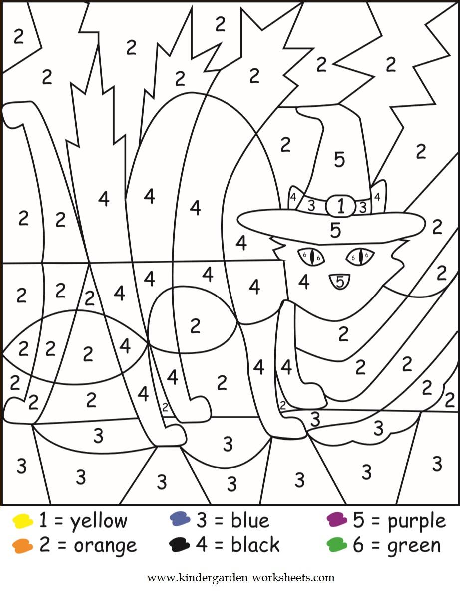 Kindergarten Worksheets  Halloween Color By Numbers Worksheets