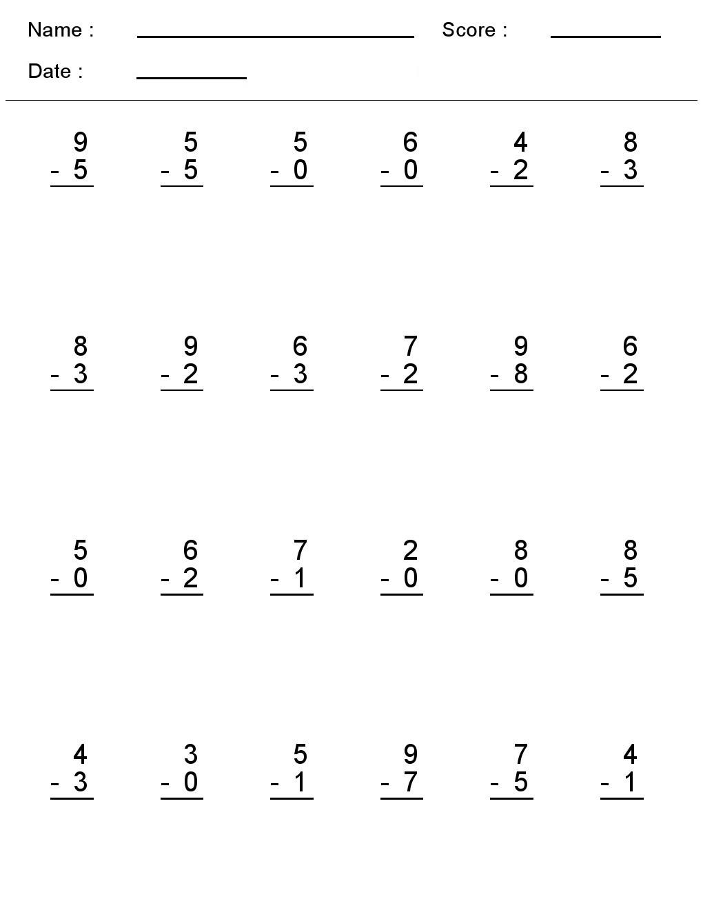 Kindergarten Worksheets Maths Subtraction Fun Single Digit