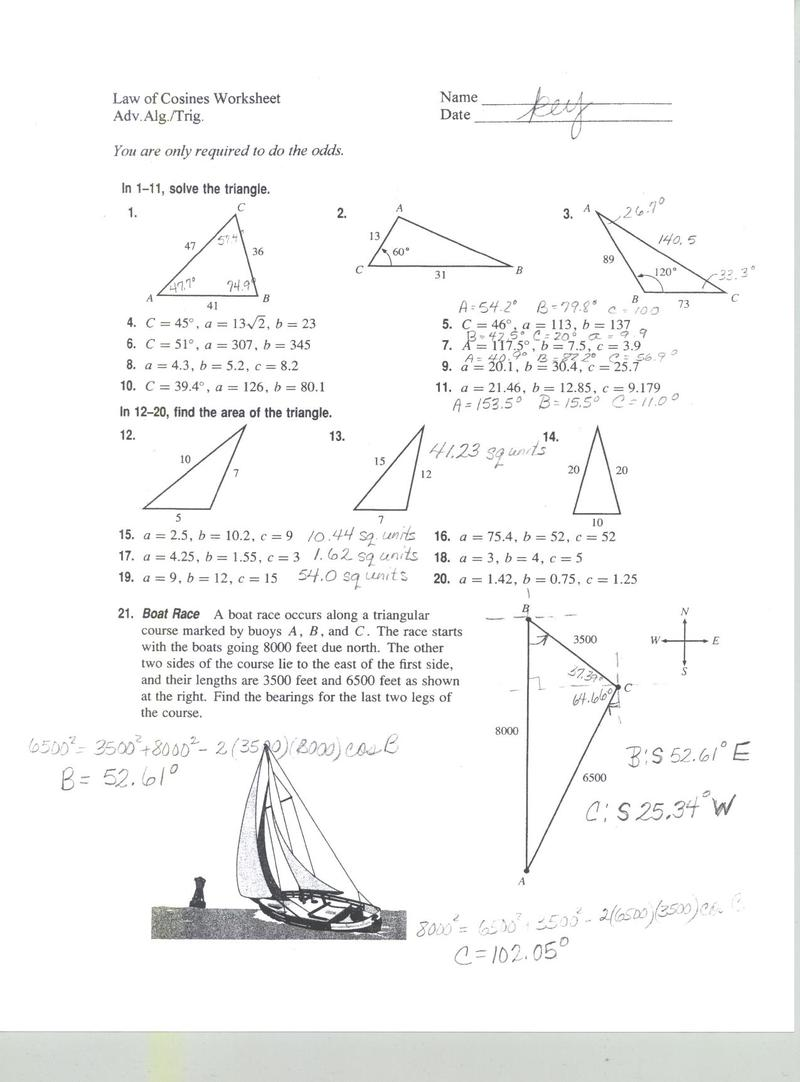 Law Of Sines Cosines Worksheet Worksheets For All