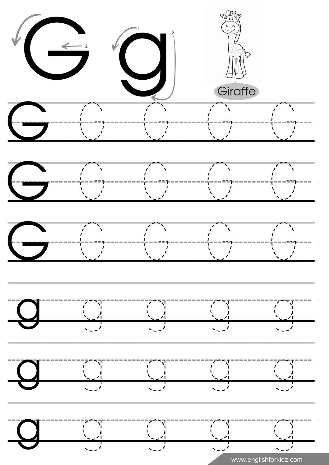 Letter G Tracing Worksheets Preschool The Best Worksheets Image