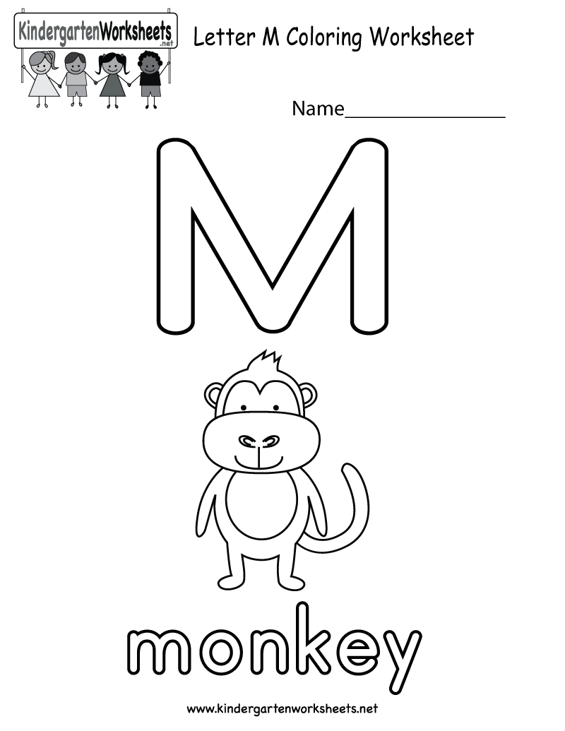 Letter M Coloring Worksheet For Kids Who Are Learning The Alphabet