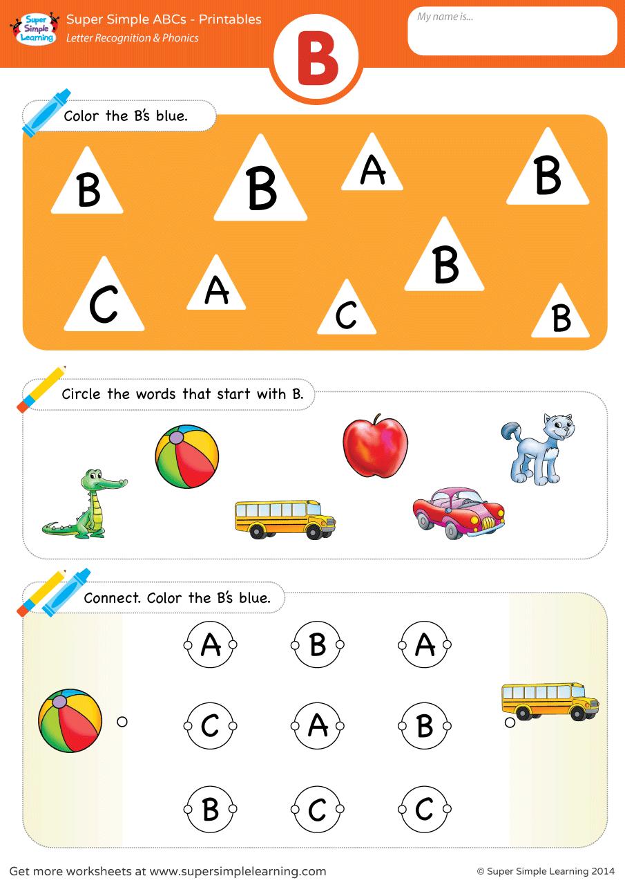 Letter Recognition & Phonics Worksheet – B (uppercase)