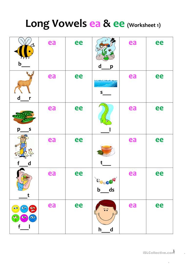 Long Vowels (ea & Ee) Revision 1 Worksheet