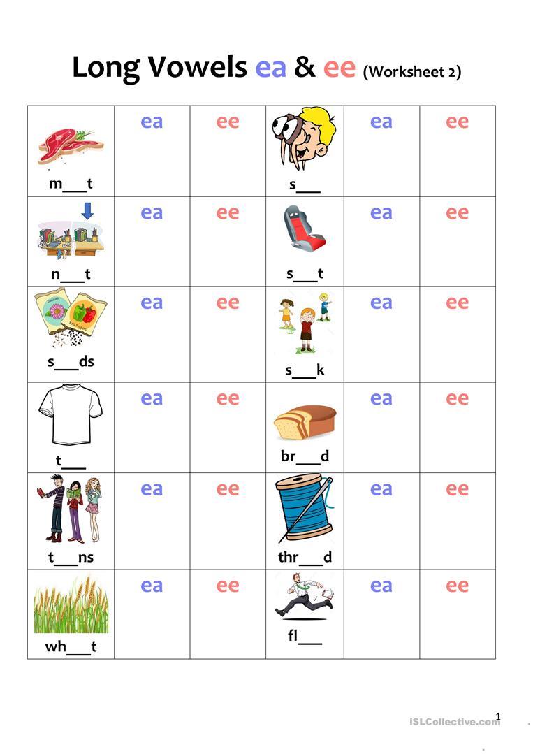 Long Vowel Ee Ea Worksheets