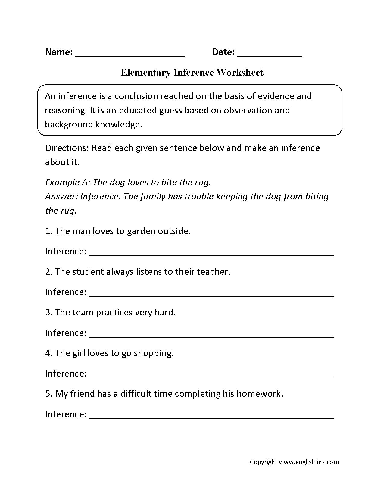 Making Inference Worksheets 5th Grade The Best Worksheets Image