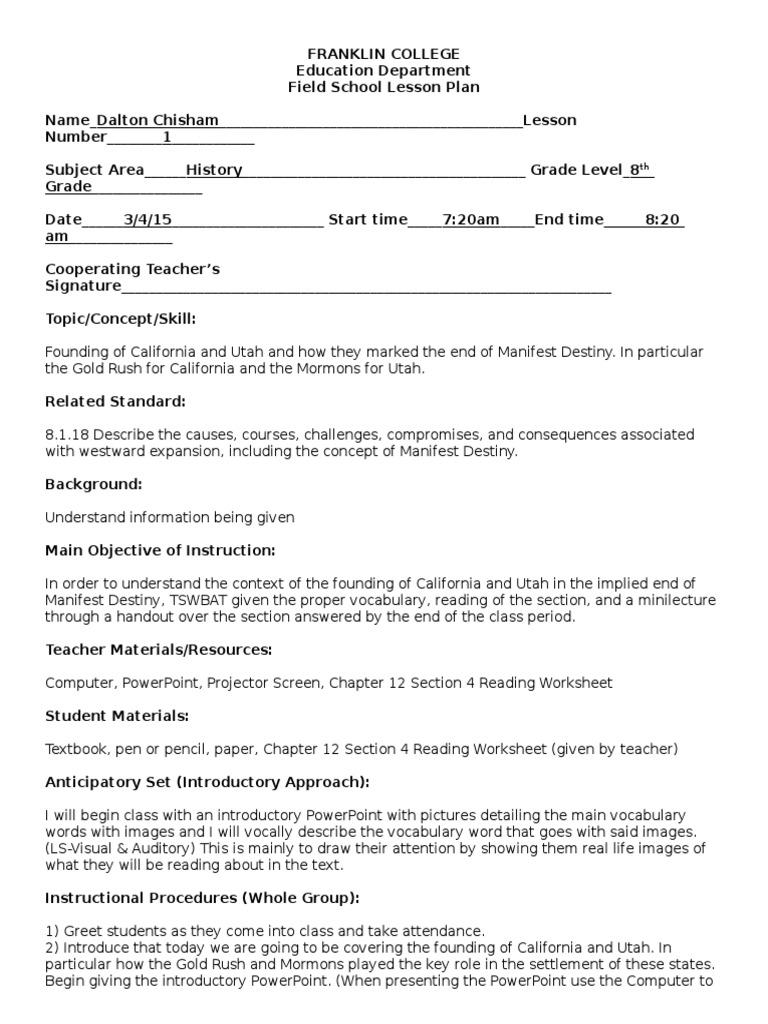 Manifest Destiny Worksheet Worksheets For All