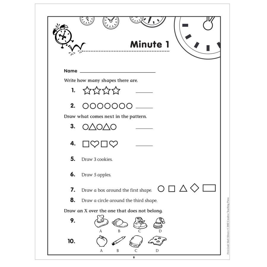 Math Minutes First Grade Mad Minute Worksheets Printable