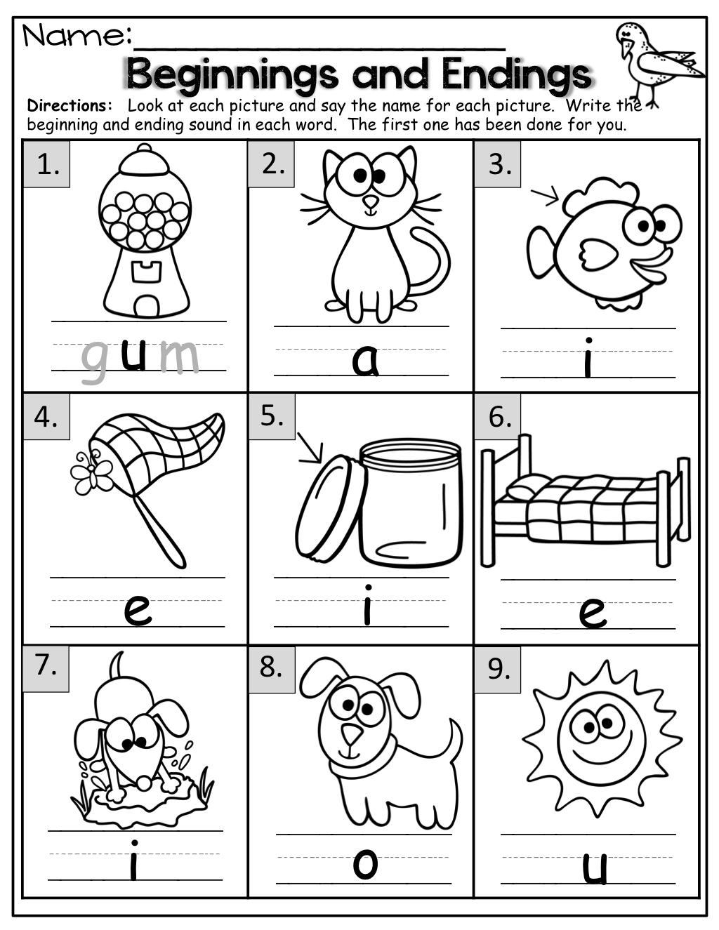 Math Worksheets Beginning Sound For Kindergarten And Ending Sounds