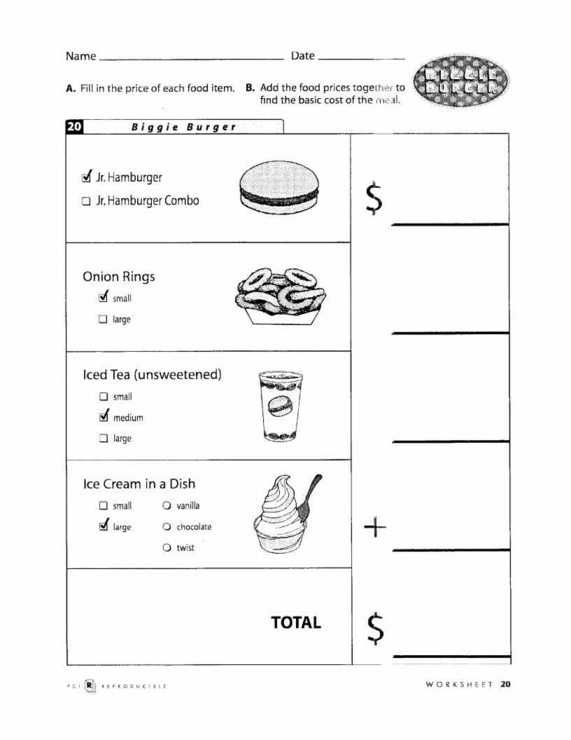 Menuath Worksheet Kelpies Worksheets Food Restaurant Fast Activity