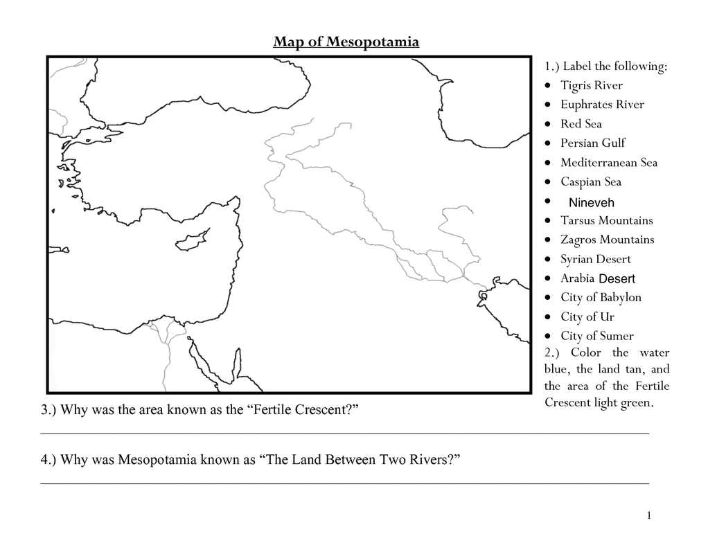 Worksheets Mesopotamia Worksheets ancient mesopotamia map worksheets