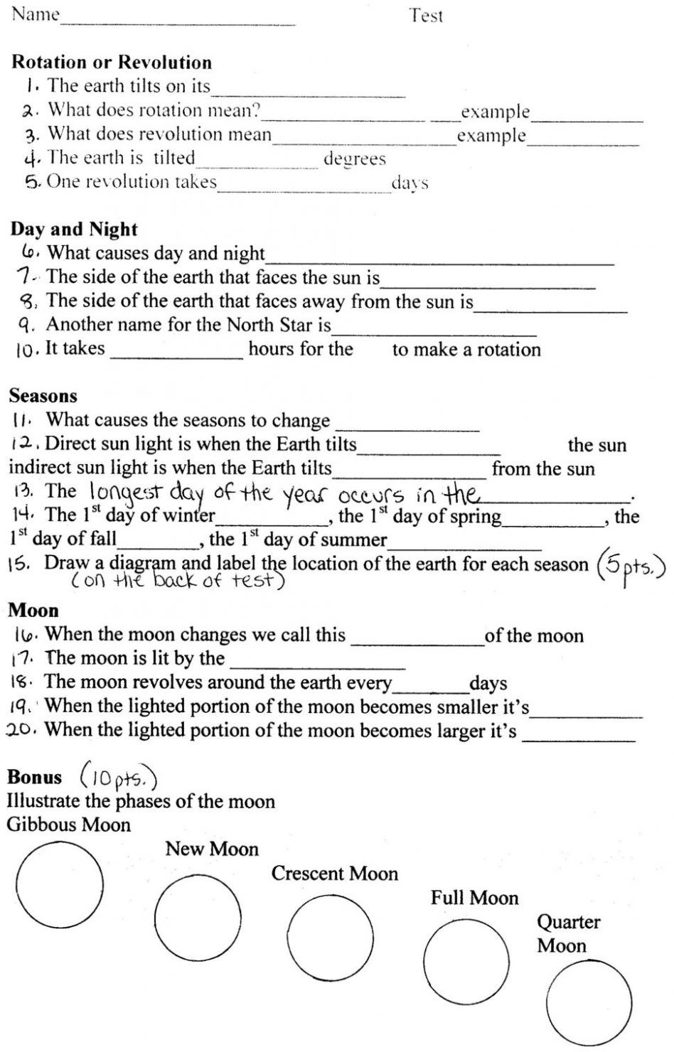 Moon Phases Great Assessment Page Download For Free  Worksheet