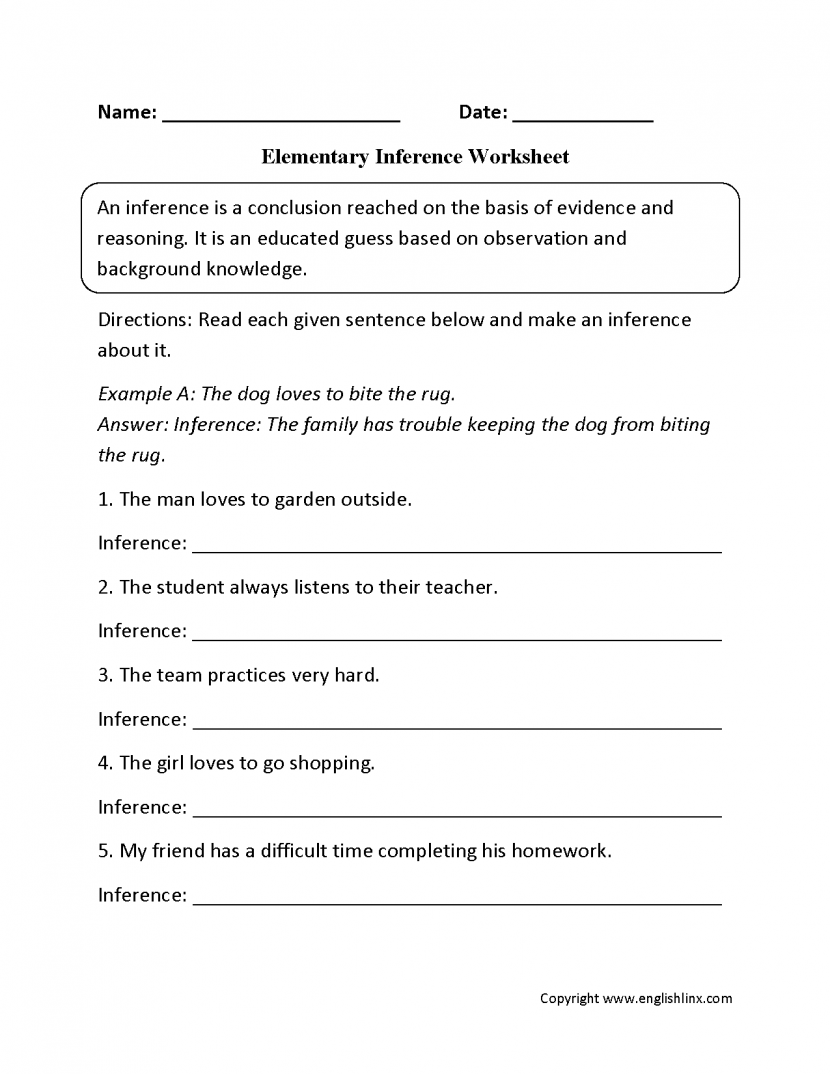 Inference Multiple Choice Worksheets
