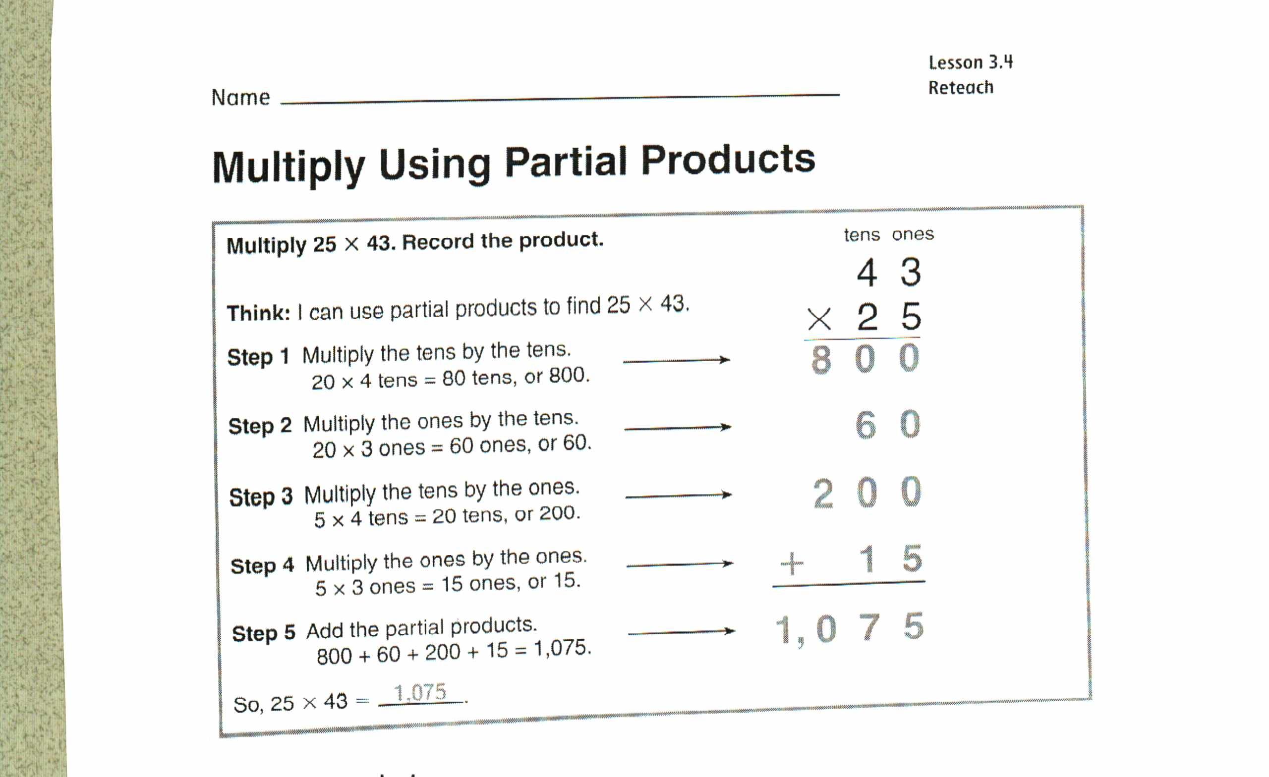 Multiplication Arrays Worksheets Area Model Decimal Grade 4 Math