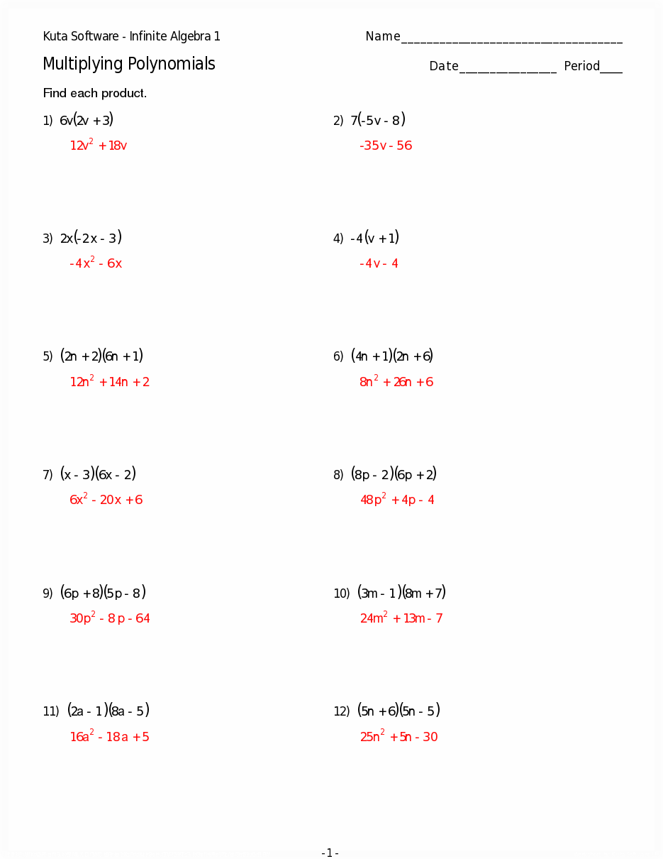 Multiplying Polynomials Worksheets Answers