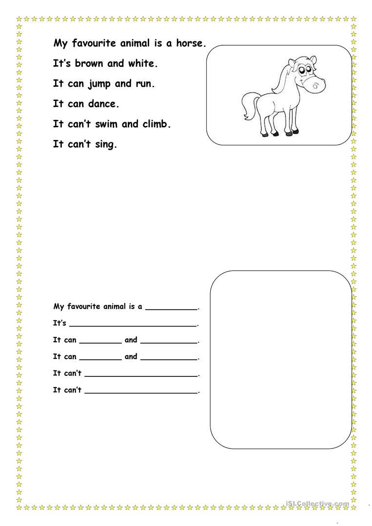 My Favourite Animal Worksheet