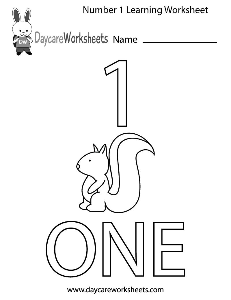 Number 1 Worksheets For Toddlers Worksheets For All