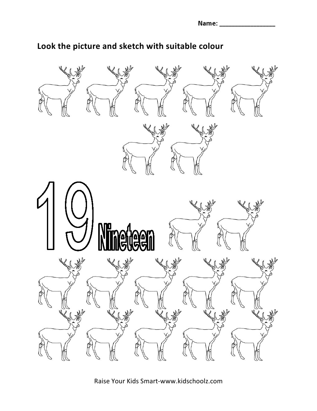 Number 19 Worksheets