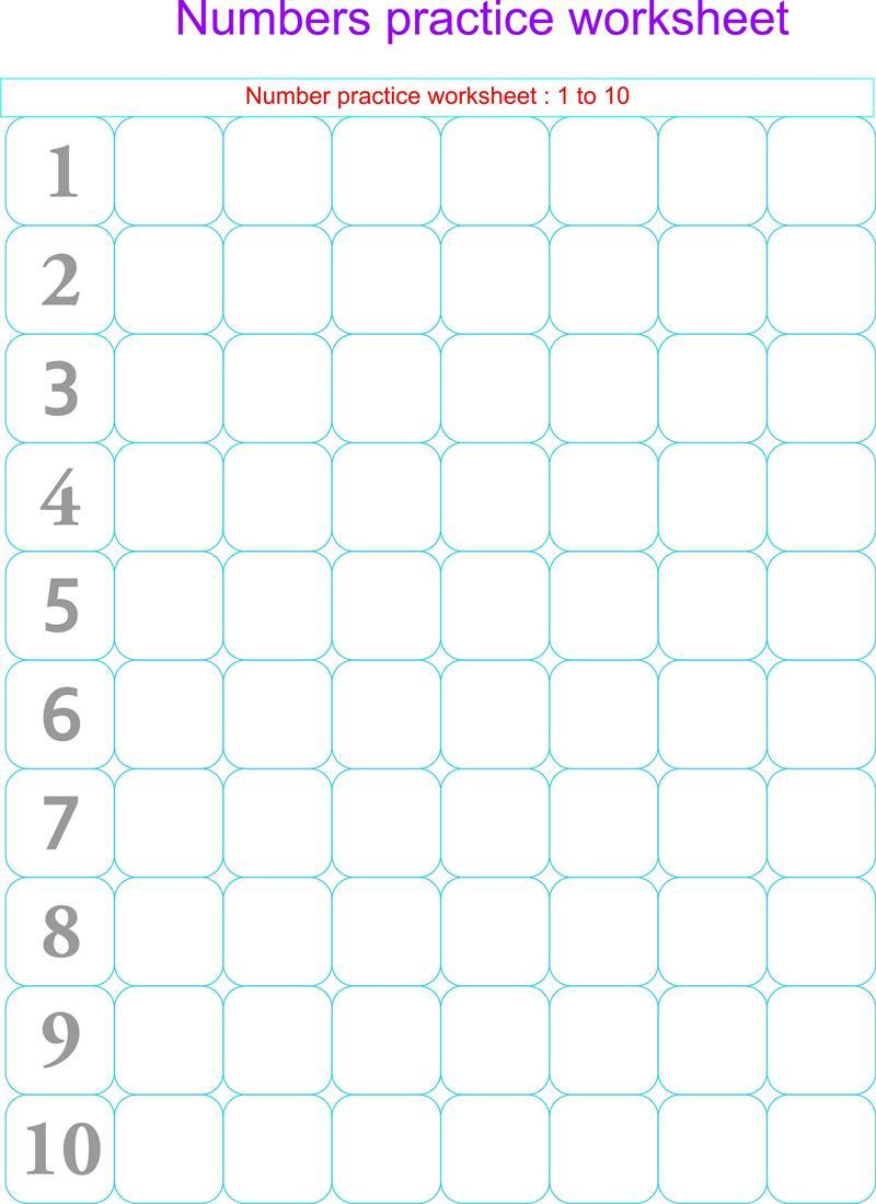 Numbers Practice Worksheets
