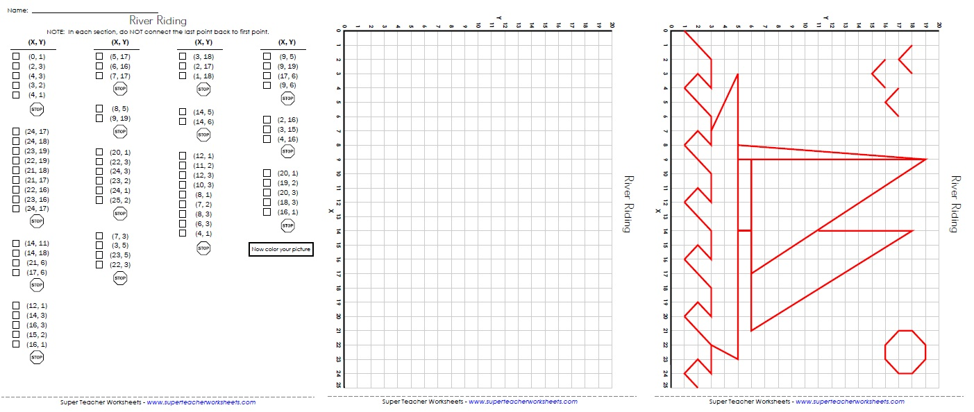Ordered Pairs Sailboat Coordinate Grid Worksheets 5th   Polskidzien
