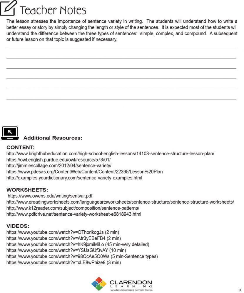 Parallel Sentence Structure Worksheet