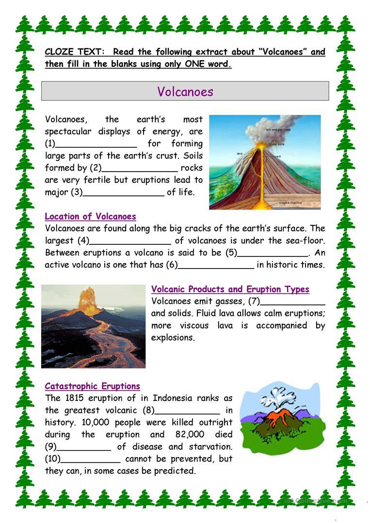 Volcanoes Worksheets Pdf