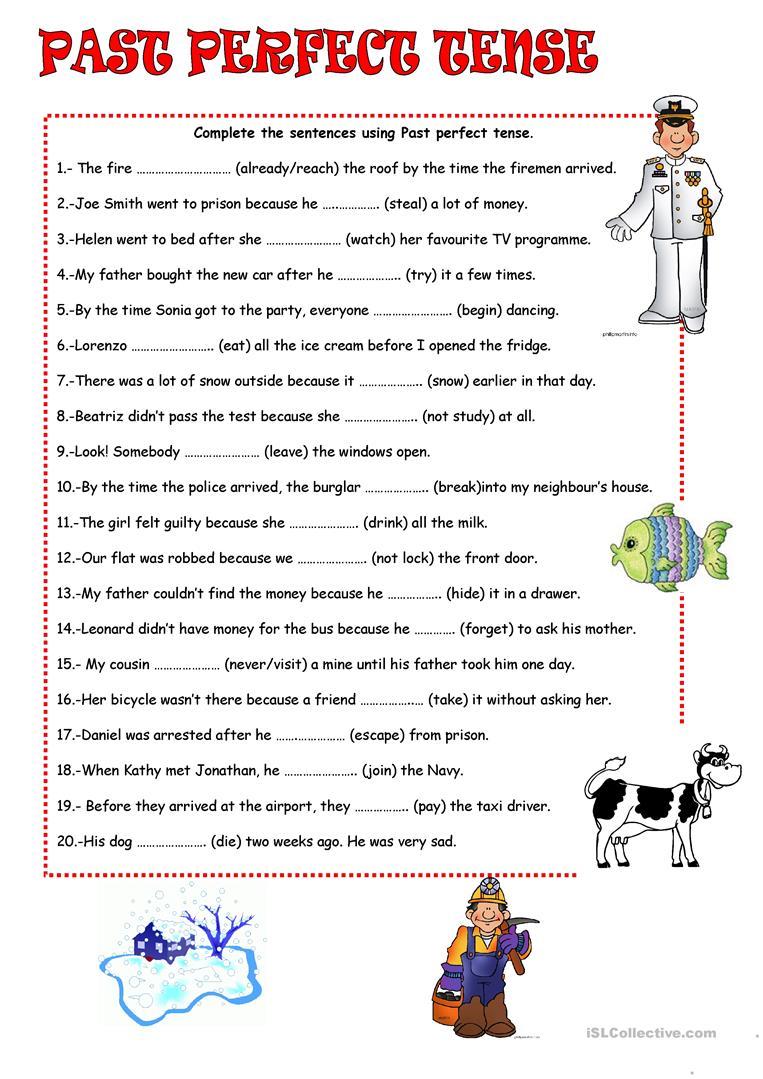Past Perfect Tense Worksheet