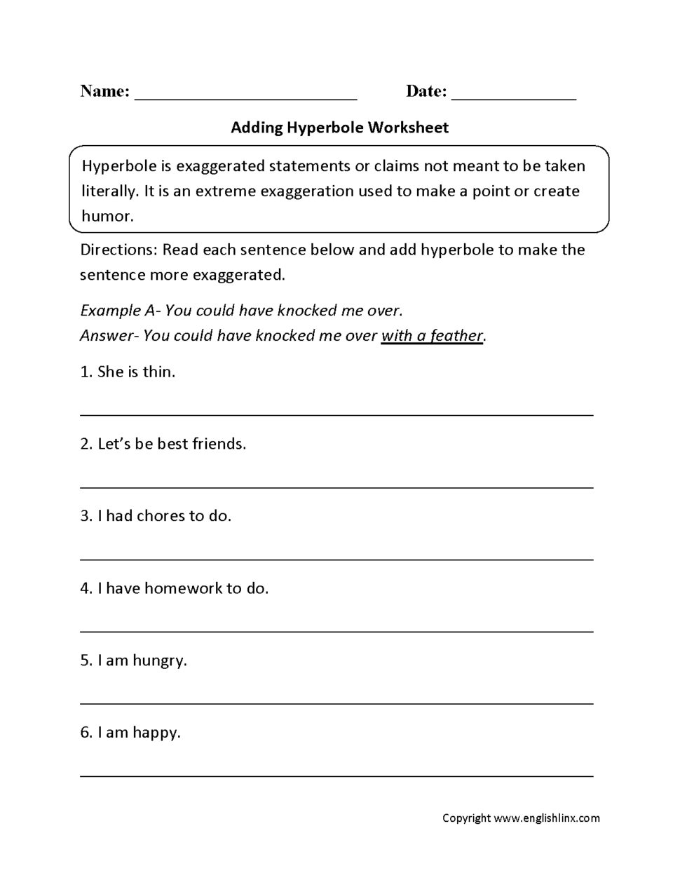 Personification Worksheets 6th Grade Worksheets For All