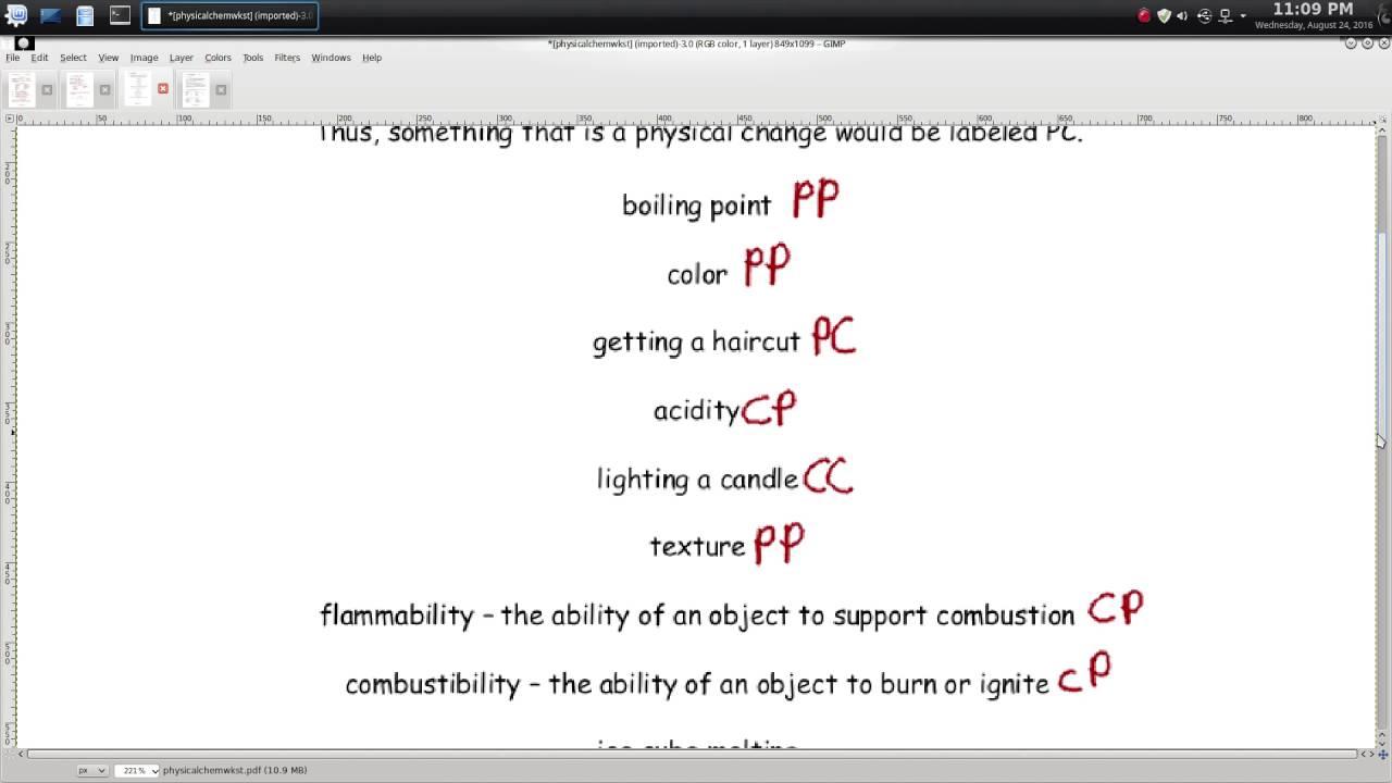 Physical Chemical Worksheet  1